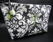 Cosmetic Case -Make up Bag - Monogrammed Waterproof - Black Damask with Sage Green accents (free monogrammed initial)