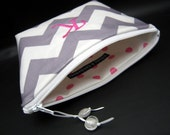 Makeup Bag - Cosmetic Case - Monogrammed and Wipeable - Gray Chevron Zig Zag with Hot Pink Accents