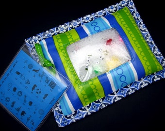 I Spy Bag - Wipeable, Personalized, ABCs and Colors - - Blue Green