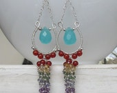 Chalcedony Rainbow Cluster Earrings