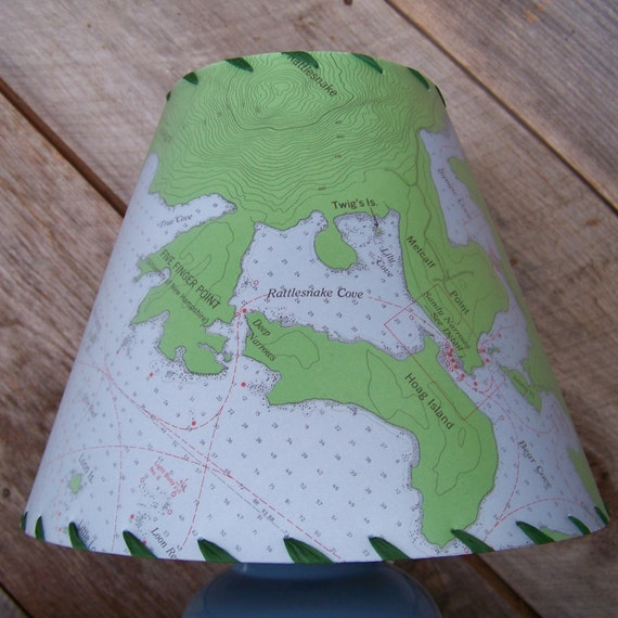 Squam Lake NH Navigational Chart Map Lampshade