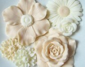 Hostess Gift Soap - White and Cream Flower Soaps Scented with Plumeria