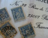 6 Beautiful Blue Antique French Stamps