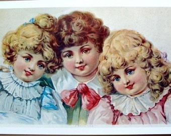 Antique 1961 Victorian Three Beauties Print