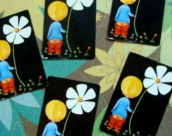 Adorable Vintage Playing Cards Flower Power
