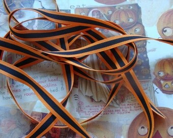 2 Yards Halloween Orange and Black Stripe Grosgrain Ribbon