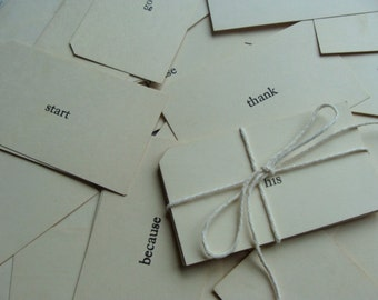 One Dozen  Vintage Word Flash Cards