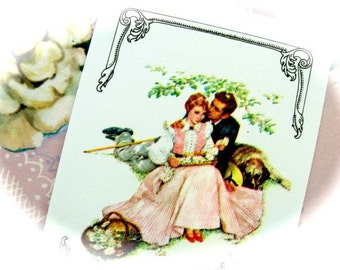 Vintage Valentine Romantic playing cards for Altered art