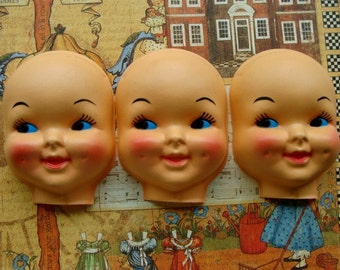 Large Vintage Kitsch Creepy Doll Faces
