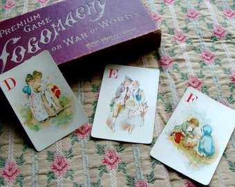 Antique Logomachy Alphabet Art  Gorgeous Playing Cards 1800s