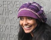 Sugarplum Jaunty Newsboy Crocheted Hat in Deep Purple, Dark Lavender, and White