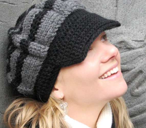 Jaunty Newsboy Crocheted Hat in Charcoal Gray and Black Wool