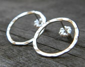 Hammered Sterling Silver Earrings Post Stud O or Circle Shaped Shape Round Textured Light Catching