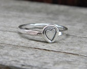 Sample Sale Size 6 Ring Sterling Silver Perfectly Stackable - Rustic Heart Stacking Ring for your Finger