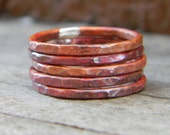 Perfectly Stackable - Set of Five Firescale Patina Copper Rings