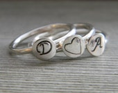 Dan and Amy Sitting in a Tree OR 3 Ring Love Stack in Sterling Silver Hearts and Initials Monograms
