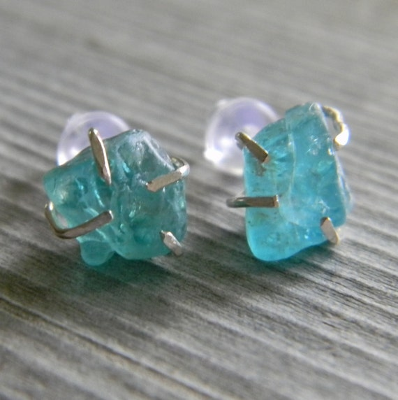 RESERVED Rustic Prong Set Raw Aqua Blue Apatite Stud Earrings in Sterling Silver