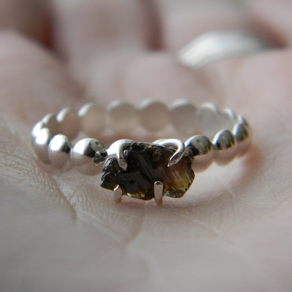 Raw Chocolate Brown Diamond Solitaire Ring Rustic Engagement Ring Rough Diamond in Sterling Silver