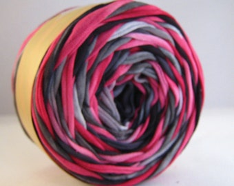 T Shirt Yarn Hand Dyed- Black/Pink/Gray 60 Yards