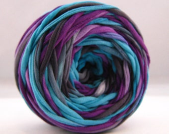 T-Shirt Yarn - Purple Black Aqua - 60 Yards - T Shirt Yarn - Recycled Yarn - Cotton Yarn - Fabric Yarn - Chunky Yarn - Upcycled Yarn