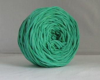 T Shirt Yarn Hand Dyed- Verdant Green, Green T shirt Yarn, Sea Green Yarn, Upcycled Yarn, Jersey Yarn, Cotton Yarn, 60 Yards