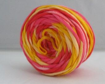 T-shirt Yarn-Yellow Pink Red - 60 yards-Hand Dyed Yarn-Cotton Yarn- Tshirt Yarn-Chunky yarn - Bulky Yarn - Recycled Yarn