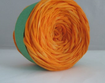 T Shirt Yarn Hand Dyed- Clementine 60 Yards