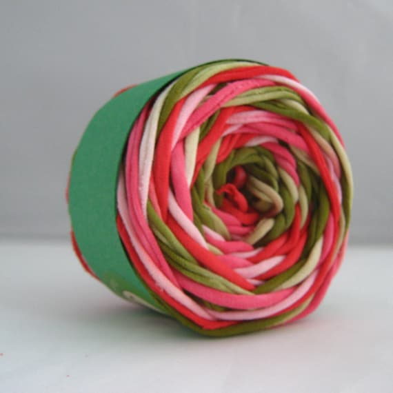 T Shirt Yarn Hand Dyed- Watermelon 60 Yards