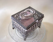 Vintage Beveled Glass Silvertone Trinket Box  Adorned with Rhinestones and Pearls