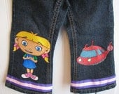 Custom Painted Disney Clothing Little Einsteins choice of 2 Characters  jeans/capri/shorts sizes 24m 2T/2 to 12