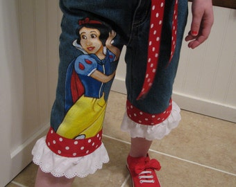 Hand Painted Disney Princess Snow White long Jeans or Capri with ruffle   Sizes 6m to 24m, 2t to 12 teen