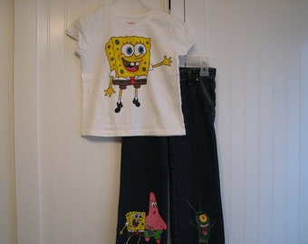 Custom Painted Spongebob 4 characters  shirt and long jeans or shorts
