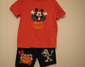Custom Disney clothing Painted Minnie, Mickey Halloween shirt n jean set Choice of sizes 12 - 24 m, 2T/2 - 12