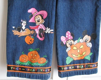 Custom Adult....Disney Painted Minnie, Mickey Halloween  long jeans or capri ....YOU SUPPLY the jeans