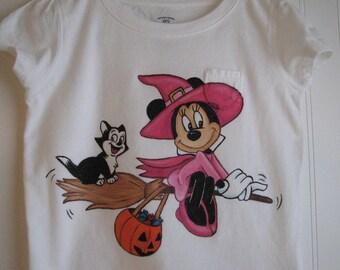 Custom Disney clothing Painted Minnie, Mickey, Tinkerbell, Halloween shirt Choice of sizes 12 - 24 m, 2T/2 - 12