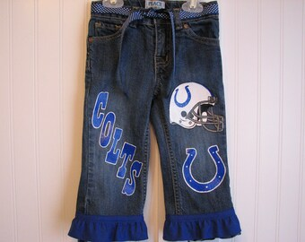 Sport Football jeans custom painted spirit jeans choice of long, capri, shorts.  Sizes 12 to 24m, 2T to 10