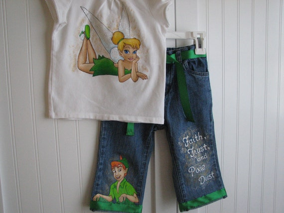 Custom Disney  clothing set Painted Tinkerbell and Peter Pan, Long jeans, Capri, or Shorts and shirt set Sz 18m  to 24 m, 2 to size 10