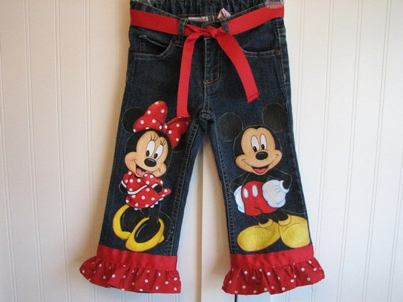 Custom Disney Clothing Minnie, Mickey n Friends  LARGER Size  Paintings 2 characters 1 on the front of each leg w/RUFFLES Sz 18m  to10 teens