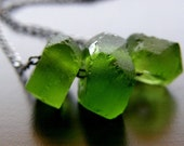 Green Recycled Glass Necklace - Forest