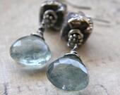 Moss Aquamarine and Handmade Sterling Silver Bead Earrings