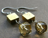 Topaz Earrings, Cube Earrings, Geometric Earrings, Vintage Brass Square Earrings