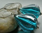 Teal Vintage Lucite Teardrop, Chunky Blue Drop Earrings, Eco Friendly Earrings