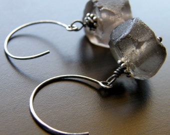 Brown Recycled Glass Earrings, Eco Friendly Earrings - Night Sky