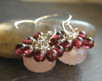 Pink Rose Quartz and Red Garnet Earrings, Dainty Pink Earrings - Cranberries