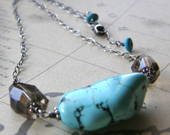 Turquoise and Smokey Quartz Nugget Necklace, Boho Necklace, Rustic Aqua Necklace