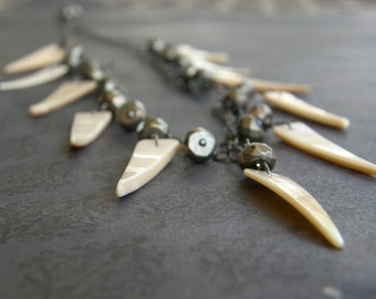 Shell and Pyrite Tribal Statement Necklace, Tusk Necklace, Cream Fringe Necklace