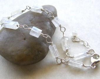 Delicate Moonstone Bracelet, Dainty Bridal Bracelet, Layering Bracelet