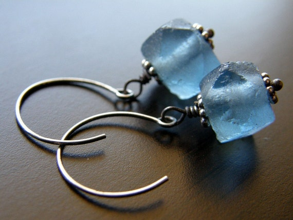 Denim Blue Recycled Glass Earrings - Ocean