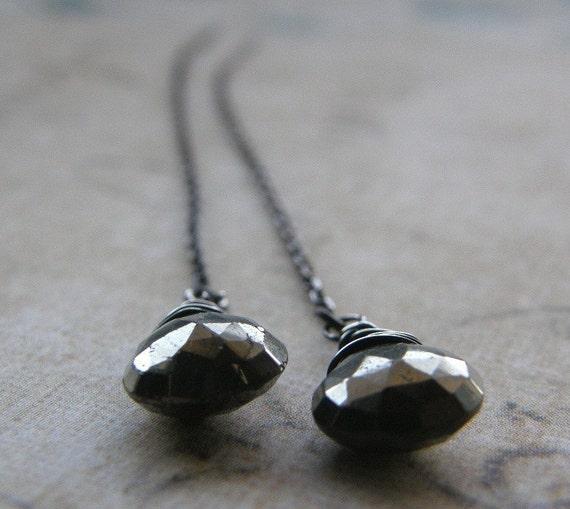 RESERVED for Niki - Pyrite Threader Earrings