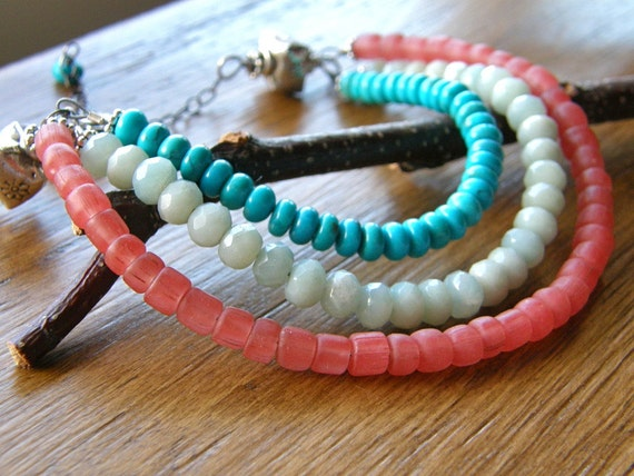 Turquoise, Aqua and Coral Bib Neckalce, Turquoise, Amazonite & Indonesian Glass Necklace - The Isle